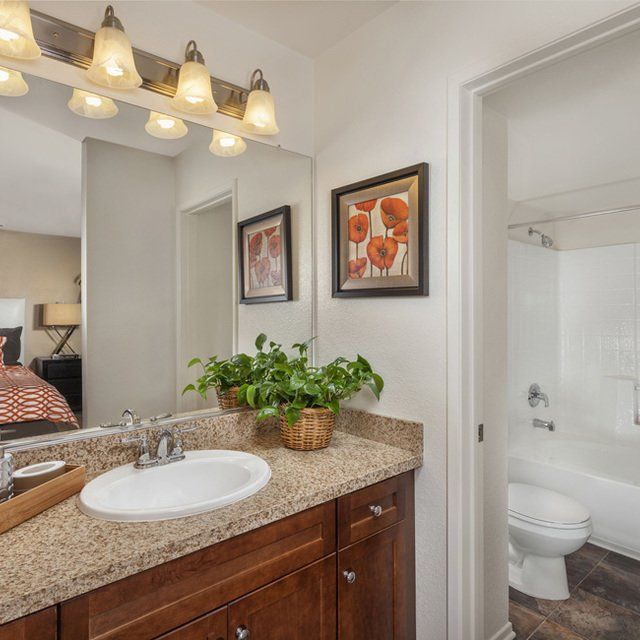Homecoming at Eastvale Apartments - Bathroom and sink