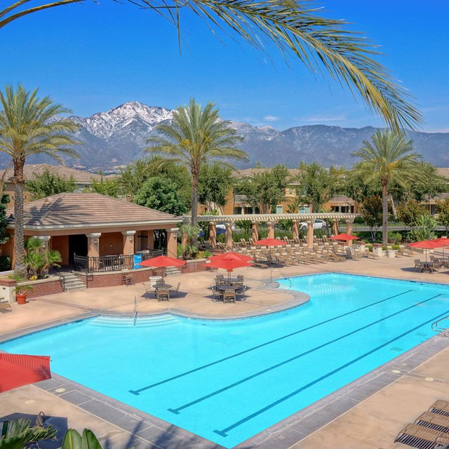 Homecoming at Terra Vista Apartments - Pool with mountain in the back