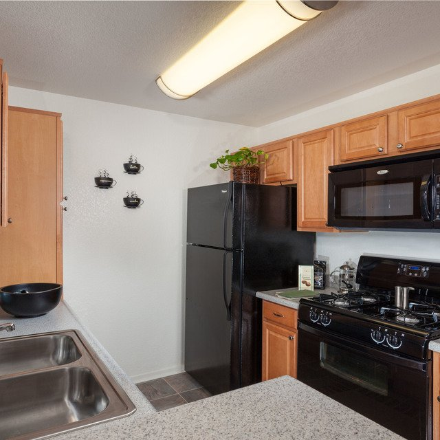 Kitchen with Black Appliances | Antelope Ridge Apartments