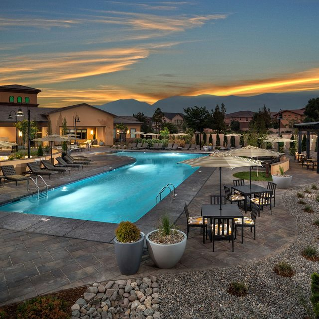 Harvest at Damonte Ranch Apartments - Pool at dusk