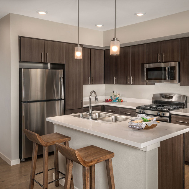 Latitude 39 Apartments - Kitchen with Wood Cabinets
