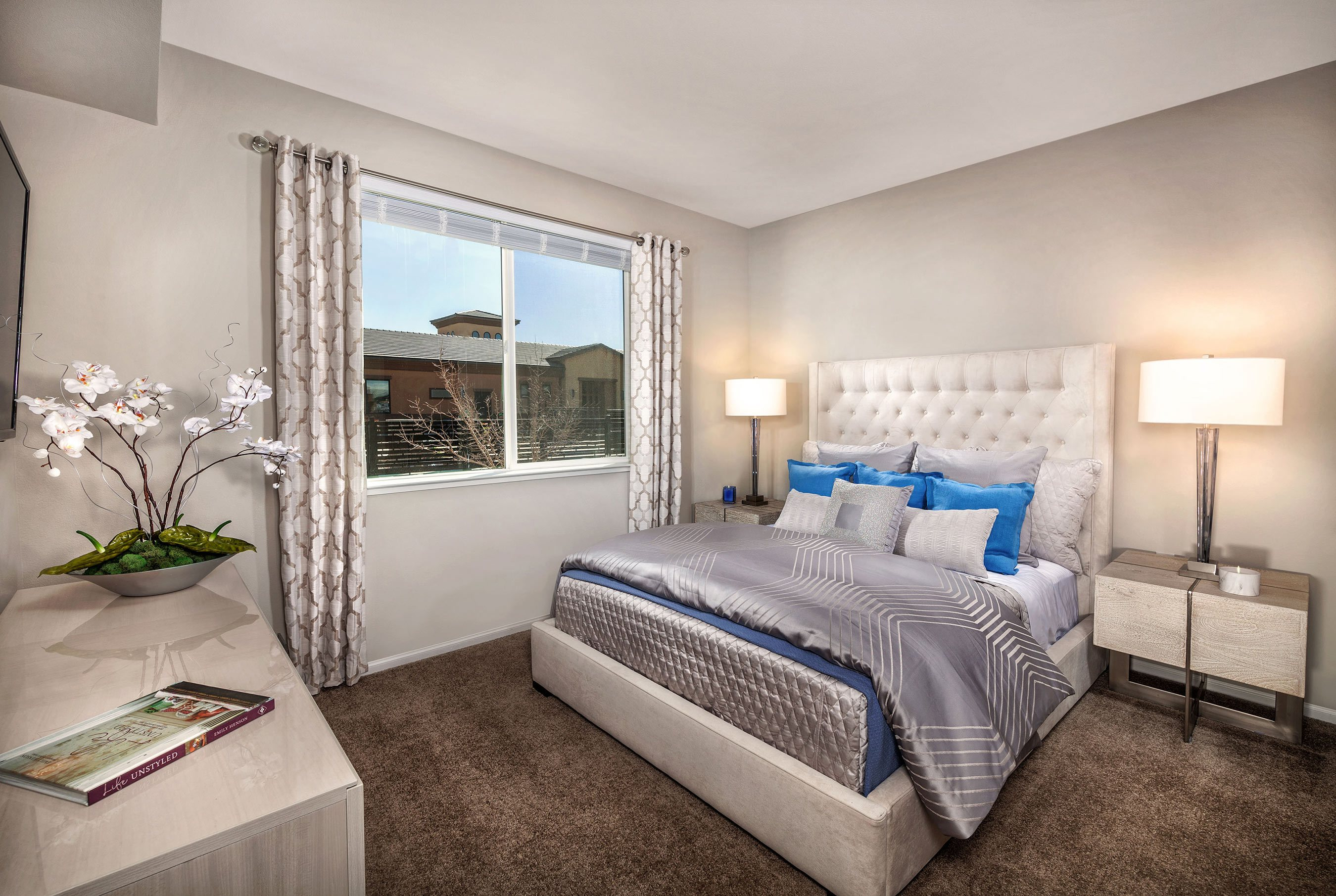 ... Harvest At Damonte Ranch Apartments   Bedroom With Grey Sheets
