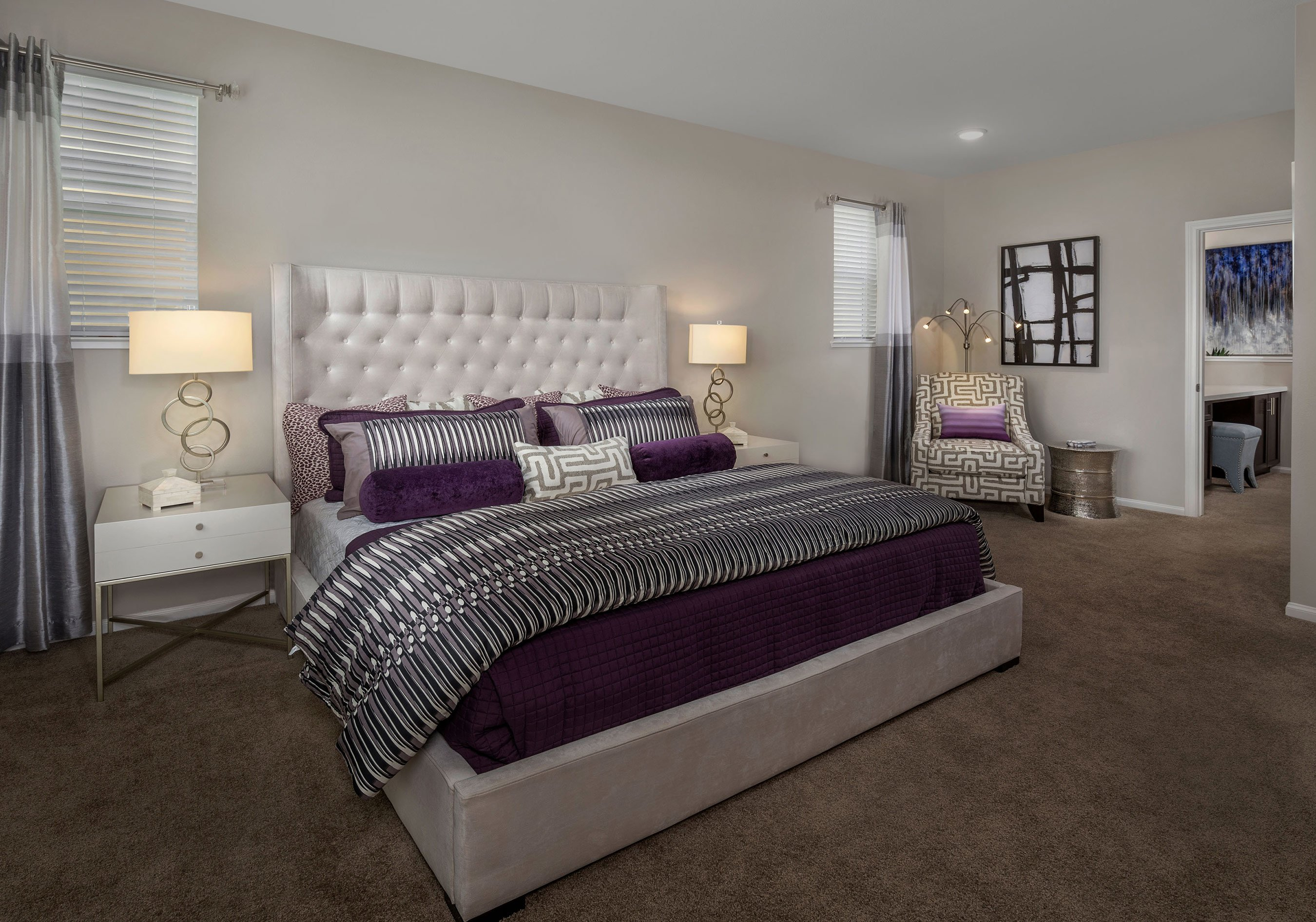 ... Harvest At Damonte Ranch Apartments   Bedroom With Purple Sheets